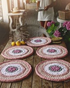 Items similar to Units of Bajo-Platos made Trapillo to crochet 35 cm. in diameter. on Etsy Crochet Motifs, Crochet Art, Love Crochet, Crochet Crafts, Crochet Doilies, Crochet Projects, Crochet Patterns, Crochet Decoration, Crochet Home Decor