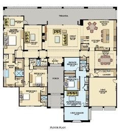 Ranch Style Floor Plans, Duplex Floor Plans, Home Design Floor Plans, House Floor Plans, Sims House Plans, Barn House Plans, Luxury House Plans, House Yard Design, Next Gen Homes