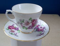 English Fine Bone China Cup and Saucer-Royal Trent,Lilac Dogwood Floral Pattern