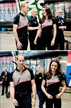 The Duke and Duchess of Cambridge tour the Land Rover BAR boat shed during a visit Land Rover BAR at the America's Cup World Series on July 24, 2016 in Portsmouth, England