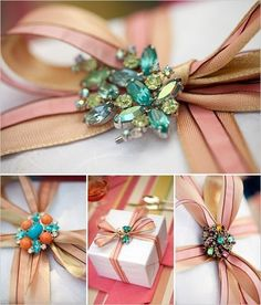 Creative wrapping with ribbon + vintage jewelry. what a beautiful gift within a gift Wrapping Ideas, Creative Gift Wrapping, Present Wrapping, Creative Gifts, Do It Yourself Baby, Do It Yourself Wedding, Craft Gifts, Diy Gifts, Handmade Gifts