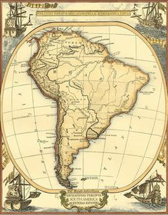 Small Nautical Map Of South America Art Print at Posters2Prints.com