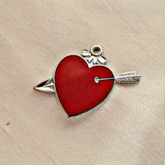 Vintage Sterling Enamel Heart with Arrow by SilverFoxAntiques