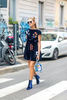Sweet little dress grows up with velvet ankle booties.