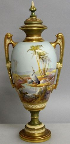 A superb Royal Worcester two handles urn shaped vase (possibly by William Powell)