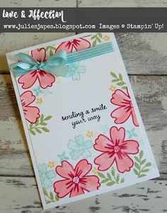 Julie Kettlewell - Stampin Up UK Independent Demonstrator - Order products 24/7: Love and Affection with added ribbon!