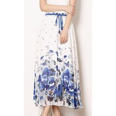 Flowers Print Long Skirts With Pleat K0437