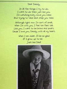 """ather's Day poem"" - Great Father's Day idea - take pics of kids in Dad's… Dad Poems, Fathers Day Poems, Fathers Day Crafts, Little Mac, Pomes, Daddy Day, Mother And Father, Mothers, Daddy Gifts"