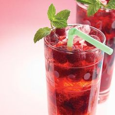 Raspberry Spritzer: 2 cup(s) seltzer, 2/3 cup(s) frozen raspberries, 2 sprig(s) fresh mint, 3 ounce(s) raspberry-flavored syrup, or Chambord, ice cubes. Directions: Combine seltzer, raspberries, mint and raspberry-flavored syrup (or Chambord) in a small pitcher. Pour over ice.