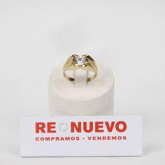 Solitario de oro  con una circonita#anillo# de segunda mano#oro
