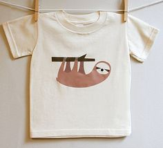 Toddler tshirt with sloth from Square Paisley Design / Etsy