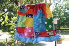 Funky Rainbow patchwork ruffle shorts by lylabugcreations