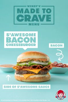 Go full S'Awesome on your burgers. Stop by Wendy's and grab the S'Awesome Bacon Cheeseburger. Food Graphic Design, Food Menu Design, Food Poster Design, Web Design, Graphic Design Posters, Advertising Design, Fast Food Advertising, Kalender Design, Grab Food