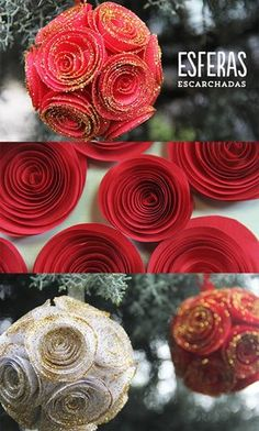 Esferas navideñas deco súper lindas para hacer este año con rositas de papel. El tutorial es sencillo y te lo explico aquí.