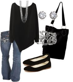 """Black and Silver"" by calyson on Polyvore"