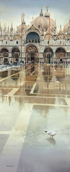 Watercolor, St. Mark's Plaza, Venice, Italy...
