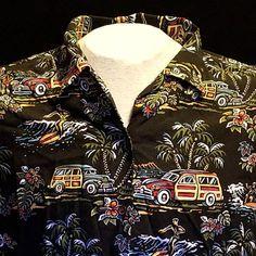 VTG LG Art of  Eddy Y by Reyn Spooner Hawaiian Shirt Woody Wagon Surfing Palm