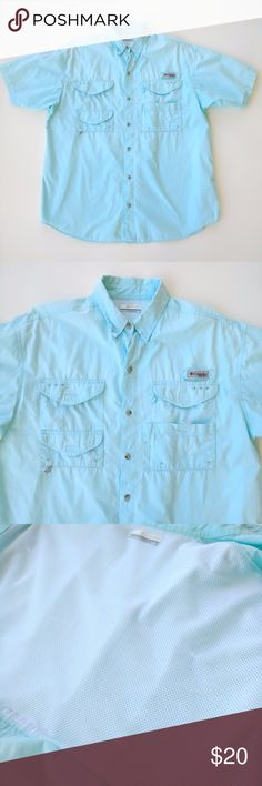 Columbia Blue Bonehead PFG Outdoor Shirt sz MD Columbia Blue Bonehead PFG Outdoor Shirt sz MD  Garment is wrinkle but otherwise in good pre-owned/worn condition. A few runs in the interior mesh Columbia Shirts Casual Button Down Shirts