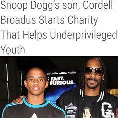 Snoop Dogg's son, Cordell Broadus starts charity that helps underprivileged youth