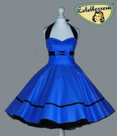 50's vintage dress full skirt uni royal blue dress rare Tailor Made after your measurements