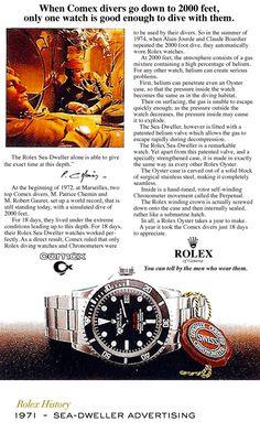 Rolex Sea-Dweller advertising. #RolexOfficial