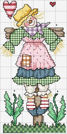 Cross-stitch Country Scarecrow... no color chart available, just use pattern chart as your color guide.. or choose your own colors...