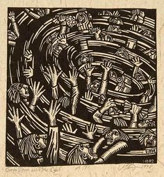 Going Down with the Cash - Woodcut by Peter Gourfain