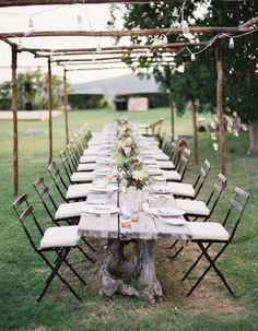 A rustic outdoor dinner party.