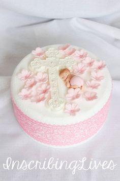 20 Baptism cake topper Christening decorations edible fondant flowers cross pink flower diaper baby shower girl large 3D figure