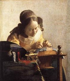 Global Gallery 'The Lacemaker' by Johannes Vermeer Framed Painting Print Size: Johannes Vermeer, Delft, Caravaggio, Rembrandt, Painting Frames, Painting Prints, Artwork Paintings, Vermeer Paintings, European Paintings