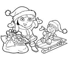 kerst kleurplaten van dora