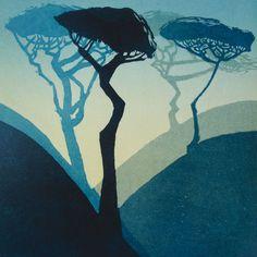 'Pines' By Carol Lander.  Blank Art Cards By Green Pebble.