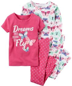Carter's Baby Girl Graphic Tees & Print Pants Pajamas Set
