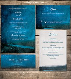 Mountain Stars Wedding Invitation, Forest Landscape Wedding Invitation