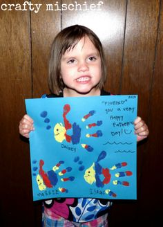 Fish Handprint craft for Father's Day or could be made into a biblical craft for fishers of men.
