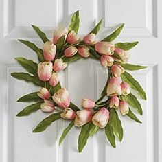 tulip wreath; I love the idea of doing something like this in silks for Easter/Spring