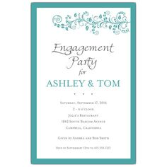 Vine+Turquoise+Engagement+Party+Invitations