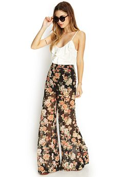 Floral Print Wide-Leg Pants | I love me some comfy fashionable pants!!