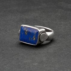 Square Lapis Lazuli Ring Blue Gemstone Sterling by SunSanJewelry
