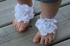 Baby girl, bottomless, flowered sandals