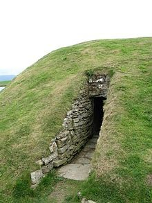 Entrance to Unstan Chambered Cairn, Orkney, Scotland; dates from 4000 BC; this type of cairn often had stone slabs dividing the cairn into at least 4 chambers, sometimes with forecourts, and were probably in use over a long period of time - Wikipedia