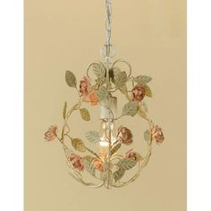 Ramblin Rose Antique Cream With Pink One Light Mini Chandelier