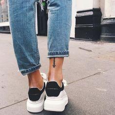 Dressing down in Alexander McQueen seems like a very good idea. Dressing down in Alexander McQueen seems like a very good idea. Alexander Mcqueen Sneakers, Alexander Mcqueen Clothing, Sneaker Outfits, Sneaker Heels, Girls Sneakers, Slip On Sneakers, Summer Sneakers, Black Sneakers, Platform Sneakers