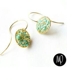 Zarcillos - Pepitas turquesas - Baño de oro #zarcillos #earrings #bañodeoro #goldplated