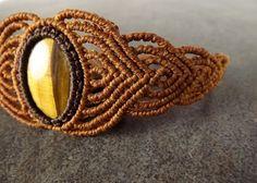 Macrame armband Tiger Eye edelsteen met bruine draad door neferknots