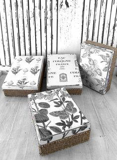Set of 4 wooden boxes with decoupaje antique finish Painted Wooden Boxes, Decoupage Wood, Gift Box Packaging, Craft Bags, Creative Decor, Box Design, Diy Projects To Try, Diy And Crafts, Decorative Boxes