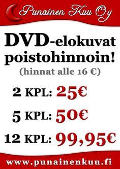 DVD-elokuvia poistohinnoin