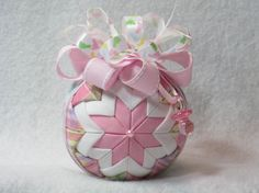 Baby Girl Quilted Ornament  no sew  pastel by KCFabricOrnaments, $15.00