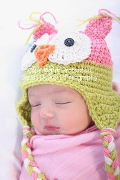 Baby Girl Owl Hat Beanie Pink and Green Crochet Photo by azek2000, $23.00