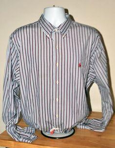 POLO RALPH LAUREN MENS BUTTON DOWN BLUE RED STRIPE DRESS SHIRT 18 XXL Custom Fit $29.99